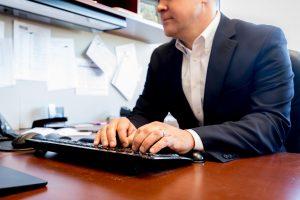 business man typing